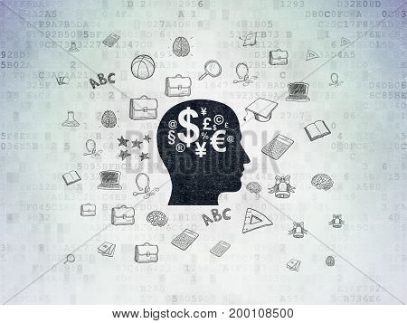 Education concept: Painted black Head With Finance Symbol icon on Digital Data Paper background with  Hand Drawn Education Icons