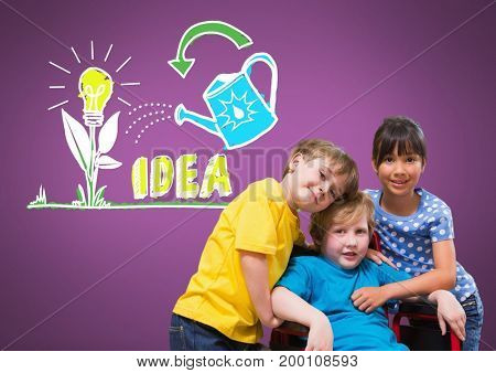 Digital composite of Disabled boy in wheelchair with friends with idea graphics