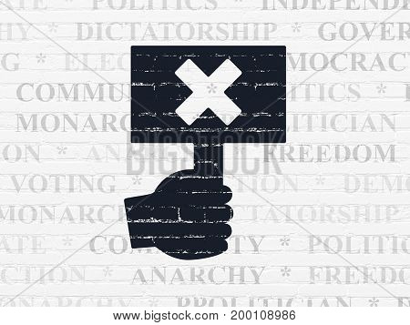 Politics concept: Painted black Protest icon on White Brick wall background with  Tag Cloud