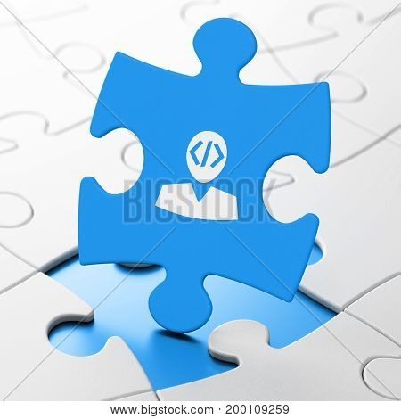Database concept: Programmer on Blue puzzle pieces background, 3D rendering