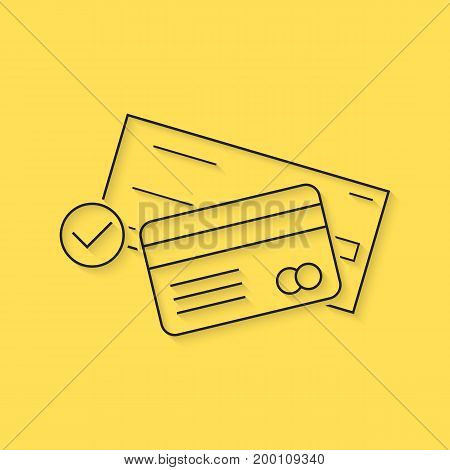 banking with thin line check and credit card. concept of billing, debt, insurance, invest, receipt, virtual store. isolated on yellow background. linear style trend logo design vector illustration