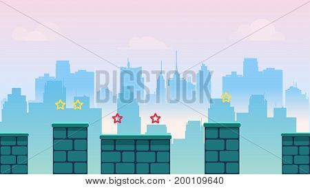 city game background, with different platforms and separated layers for games.Vector illustration for your design. size.1920x1080.