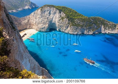 Navagio Beach From  Shipwreck Cliff View In Zakynthos (zante) Island, In Greece