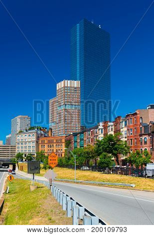 Boston - June 2016, MA, USA: View of the John Hancock tower in Back bay Boston
