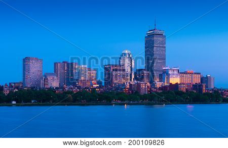 Boston - June 2016, MA, USA: Boston skyline at the evening. Skyscrapers and office buildings in Back Bay surroundings