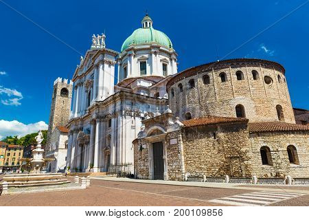 Brescia - July 2017, Lombardy (Lombardia), Italy: The Old Cathedral of Brescia and