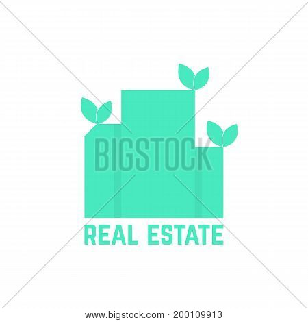 real estate logo with leafs. concept of luxury, hostel, factory, urban mansion, elite residence, visual identity. isolated on white background. flat style trend modern brand design vector illustration