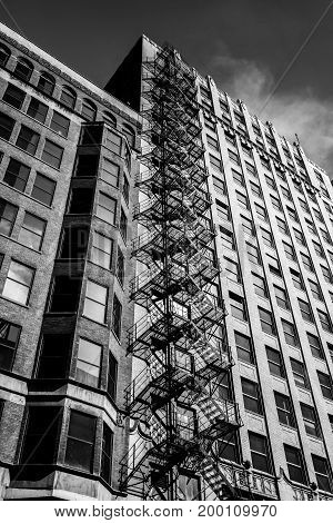 Chicago buildings. Black and white photography. USA