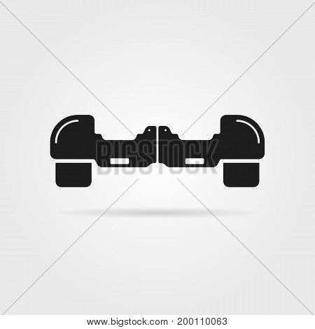 simple hoverboard icon with shadow. concept of innovation, gyroscope machine, gyroscooter, two-wheel, invention. isolated on gray background. flat style trend modern logo design vector illustration