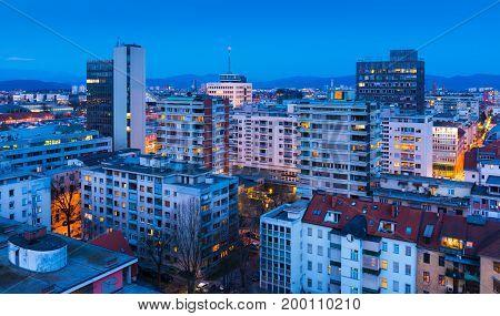 Ljubljana - March 2016 Slovenia: Ljubljana cityscape at the evening. View of the central part of the Slovenia's capital.
