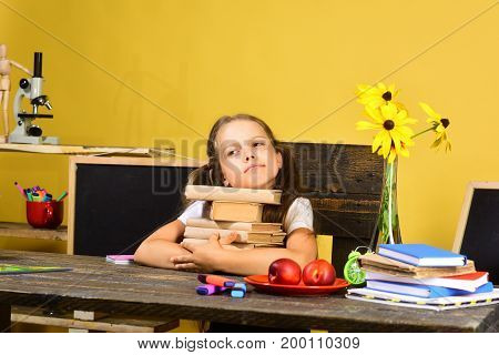 Back To School And Childhood Concept. Girl Sits At Desk