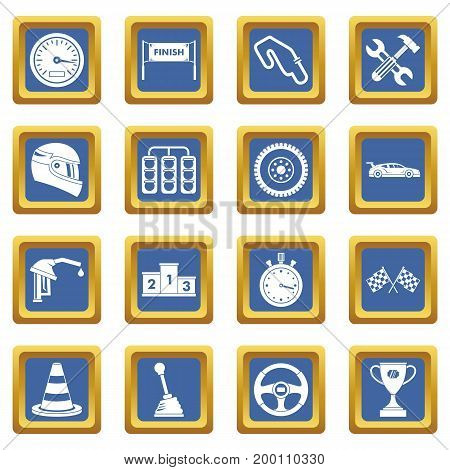 Racing speed icons set in blue color isolated vector illustration for web and any design