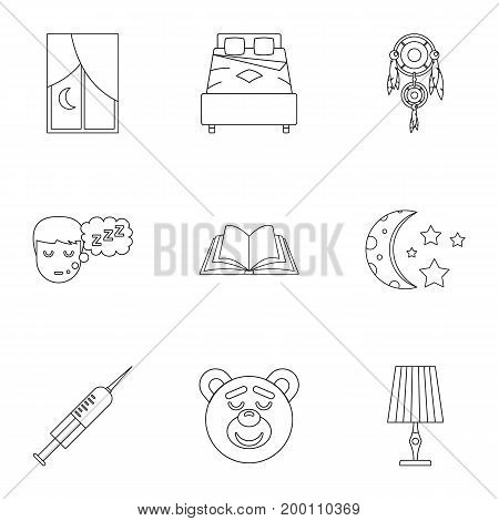 Time to sleep icon set. Outline style set of 9 time to sleep vector icons for web isolated on white background