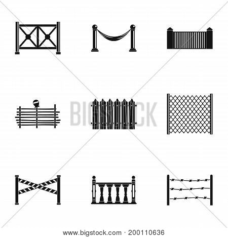 Types of fence icons set. Simple set of 9 types of fence vector icons for web isolated on white background
