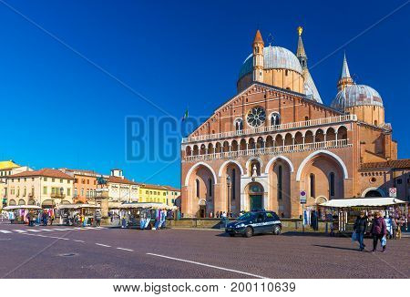 Padua - February 2017, Veneto region, Italy: The Basilica of St. Anthony (Basilica di Sant'Antonio di Padova). Piazza del Santo (The Square of Saint Holy)