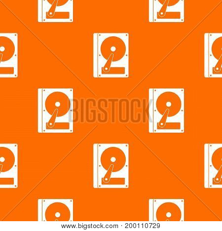 HDD pattern repeat seamless in orange color for any design. Vector geometric illustration