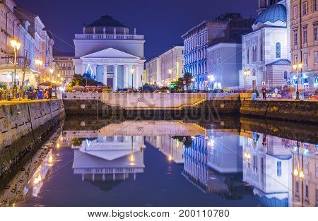 Trieste - December 2016 Italy: Night view of Grand Canal in the city of Trieste