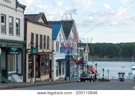 Bar Harbor Maine USA - 29 July 2017: View of main street in the early morning 5:24am before the crowds of tourists engulf the streets on their summer vacations.
