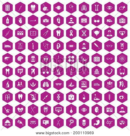 100 medical icons set in violet hexagon isolated vector illustration