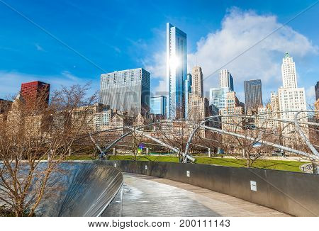 Chicago - March 2017, IL, USA: Skyscrapers in downtown Chicago, view from Millenium Park
