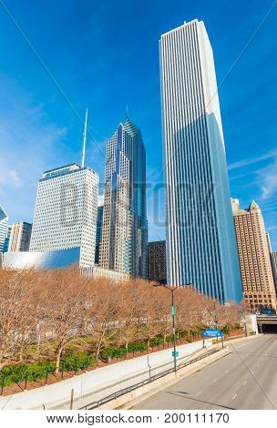 Chicago - March 2017, IL, USA: View of Aon building, Prudential Plaza, Two Prudential Plaza and surrounding skyscrapers in downtown Chicago