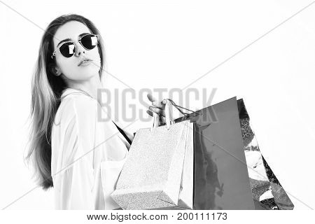 Fashionable Sexy Woman Or Girl Holding Package Or Bags