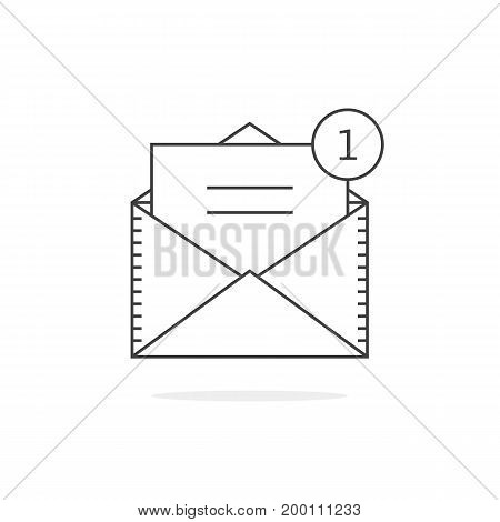 thin line email notification icon. concept of ui, sms, spam, shopping, notify, chat, check list, e-commerce. isolated on white background. linear style trend modern logo design vector illustration