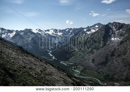 Mountain Range With Valley,