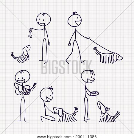 Stick figure of man with his pet dog with different poses of walking, feeding, playing, training and caring. Hand drawn vector illustration