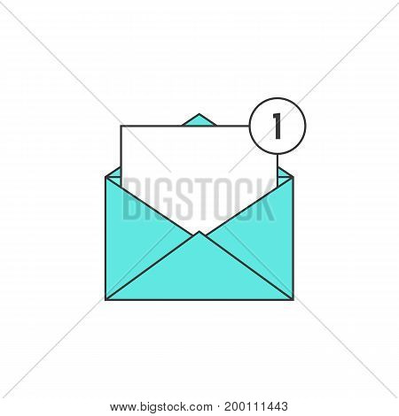 outline green email notification icon. concept of ui, sms, spam, shopping, notify, chat, check list, e-commerce. isolated on white background. linear style trend modern logo design vector illustration