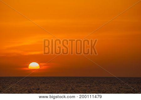 Ocean Sunset Haiti as seen from an ocean vessel.