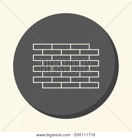 Brick wall vector round line icon with the illusion of volume color change in one click