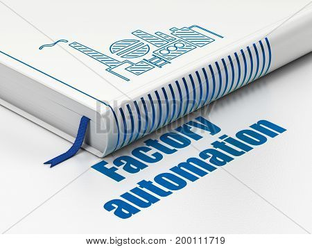 Manufacuring concept: closed book with Blue Oil And Gas Indusry icon and text Factory Automation on floor, white background, 3D rendering