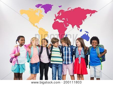 Digital composite of Multicultural School kids in front of colorful world map