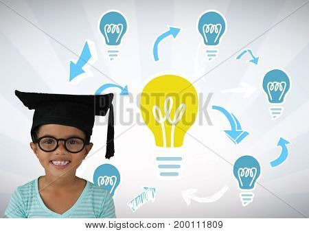 Digital composite of Girl wearing graduation hat with light bulb graphics