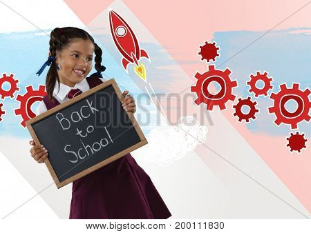 Digital composite of Girl holding blackboard with back to school text and rocket cogs graphics