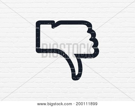 Social media concept: Painted black Thumb Down icon on White Brick wall background