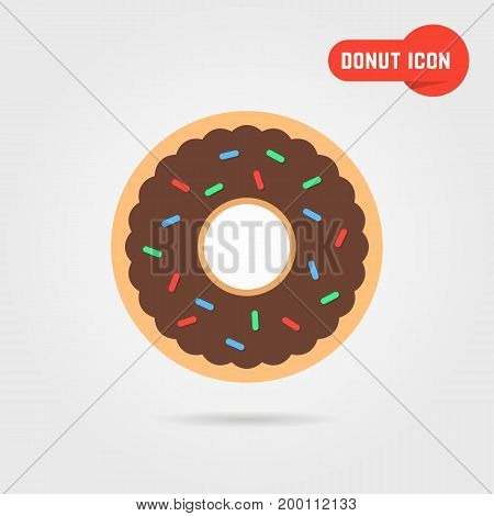 simple donut icon with shadow. concept of donut emblem, yummy donut, donut topping, donut pie. donut icon isolated on gray background. flat style trend modern donut logo design vector illustration