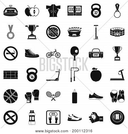 Boxing sport icons set. Simple style of 36 boxing sport vector icons for web isolated on white background