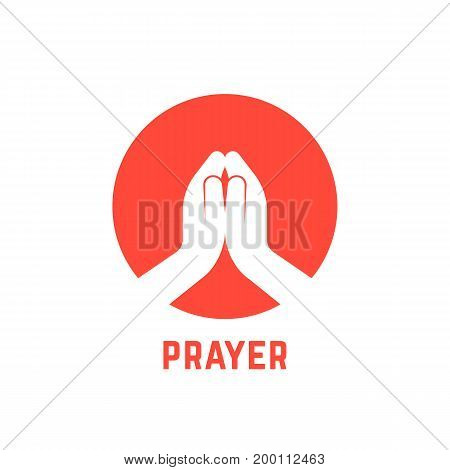 white praying hands in circle. concept of praise, support, blessing, shrift, hinduist, gratitude, bible, benediction. isolated on white background flat style modern logotype design vector illustration