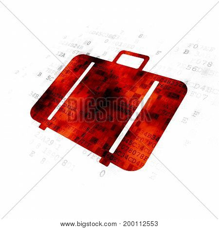 Travel concept: Pixelated red Bag icon on Digital background