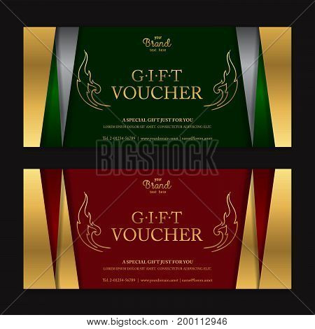 Gold and silver gift voucher or gift certificate card for discount promo event