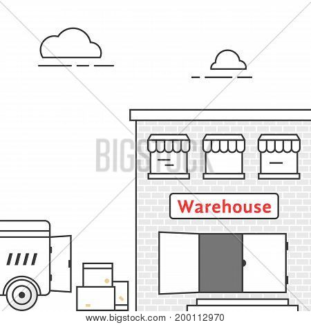 thin line warehouse with delivery vehicle. concept of lorry, stock, depot, truck transit, import export, van, courier. isolated on white background linear style trend modern design vector illustration
