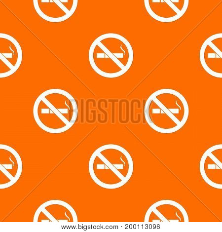 No smoking sign pattern repeat seamless in orange color for any design. Vector geometric illustration