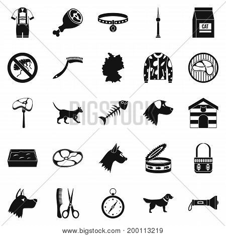 Pooch icons set. Simple set of 25 pooch vector icons for web isolated on white background