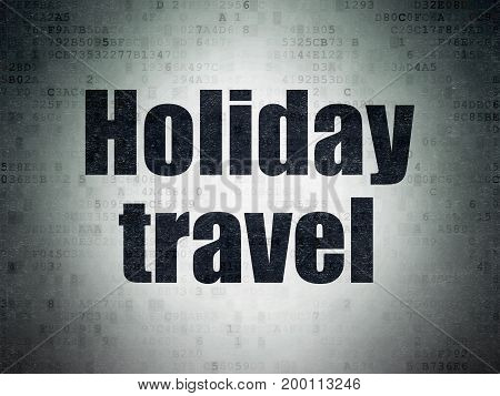 Tourism concept: Painted black word Holiday Travel on Digital Data Paper background