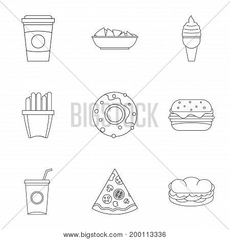 Snacks icon set. Outline style set of 9 snacks vector icons for web isolated on white background