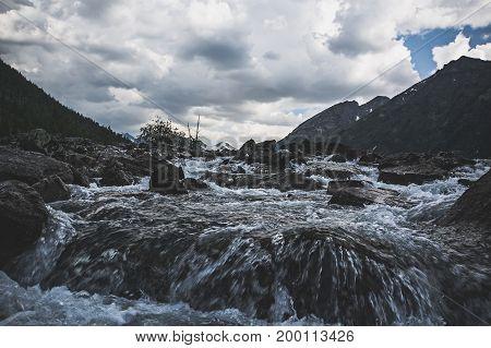 Dark Gloom Mountain Valley Along The Mountain River