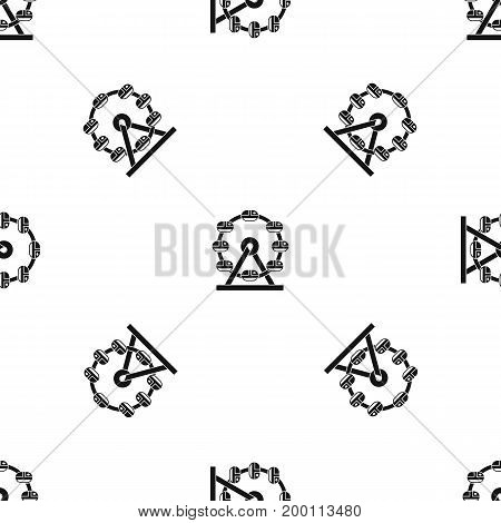 Giant ferris wheel pattern repeat seamless in black color for any design. Vector geometric illustration
