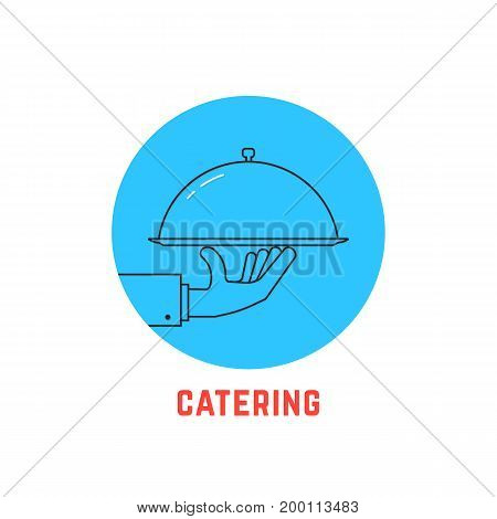 blue round catering logo. concept of cafe, bistro, cover, nutrition, healthy cookery, courier, diet. isolated on white background. flat style trend modern brand logotype design vector illustration